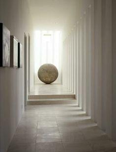 * minimal interior design, modern hallways, focal point, white marble, rhythm *