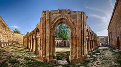 cloister of San Juan de Duero, Soria, Spain. -