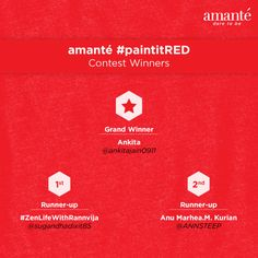 Congratulations @ankitajain0911 @sugandhadixit85 and @ANNSTEEP! You are the winners of #paintitRED #contest held on Twitter.