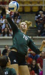 Michigan State gets its first home games in the Big Ten schedule this weekend, and welcomes Illinois and Northwestern to East Lansing. Michigan State made the largest jump of any team in the AVCA Top 25 this week, ascending six spots to No. 9.
