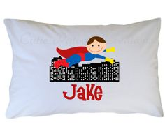 Superhero Pillow Case Personalized Travel by CutiesTieDyeBoutique, $18.00