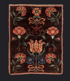 Trousseau ryijy with a sampler motif, 1798, Finland