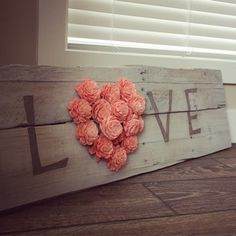 "Reclaimed Pallet Wood Sign - LOVE 38""X11"""