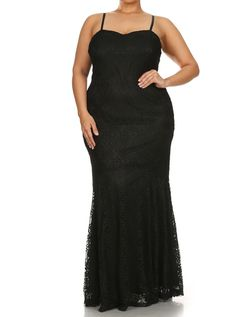 af3fe4141c Plus Size Princess Crochet Mermaid Black Maxi Dress Plus Size Formal Dresses