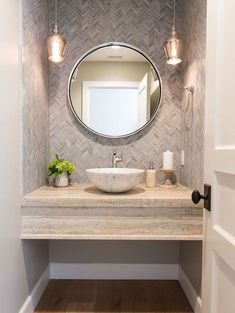21 Ideas for bathroom wallpaper modern pedestal sink Powder Room Decor, Powder Room Design, Powder Room Vanity, Wallpaper For Powder Room, Powder Room Lighting, Rustic Powder Room, Mirror Powder, Bathroom Wallpaper Modern, Modern Bathroom