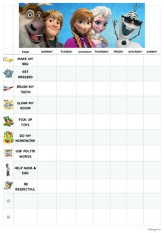 frozen behavior chart   Related Pictures reward charts kids playroom traditional childrens ...