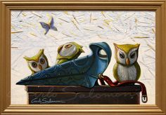 PLAGUE DOCTOR OWLS - acrylic painting -