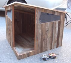 DIY dog house made from recycled fence boards. DIY dog house made from recycled fence boards. Dog House Plans, Cabin Plans, Wooden Fence, Brick Fence, Front Fence, Dog Runs, Outdoor Dog, Outdoor Sheds, Animal House