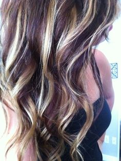 Warning: link redirects elsewhere!!nice dark purple hair with blonde highlights Hair on Pinterest