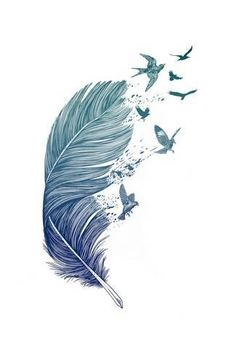 Fly AwayBy Rachel Caldwell Art Print: Fly Away by Rachel Caldwell : Feather Drawing, Feather Painting, Feather Art, Watercolour Feather Tattoo, Watercolor, Tattoo Fly, Home Tattoo, Let Go Tattoo, Flying Tattoo