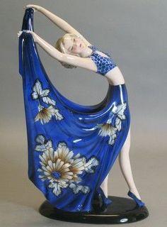 "Fabulous 14 5"" Goldscheider Art Deco Figurine Dakon RARE Form Color | eBay"