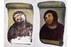 Painting of Christ disfigured by elderly woman in Spanish town; becomes internet trending topic