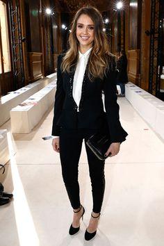 Jessica Alba In Stella Mccartney Business Chic Outfit Fashion Attire
