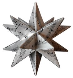 Christmas Tree Topper, Sheet Music Star Tree Topper,  Tree Topper, Origami, Recycled Sheet Music, Black and White Christmas decor on Etsy, $39.50