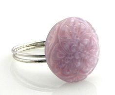 Czech Glass Vintage Button Ring Light Purple Lace on Etsy, $30.00