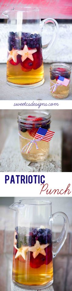 Substitute white grape juice for apple juice. Patriotic punch- I am SO doing this for of July! Super easy to make a delicious and impressive drink- and you can make it an adult version, too! Holiday Treats, Holiday Fun, Holiday Recipes, Fun Drinks, Yummy Drinks, Beverages, Yummy Food, 4th Of July Party, Fourth Of July
