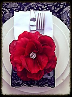 Red Vintage Flower with Brooch by LovelyLaceDesigns on Etsy, $13.50 - like the red flower and the black lace on the napkin