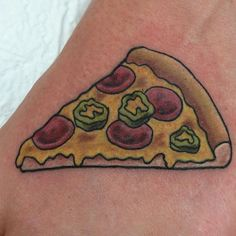 Pepperoni and jalapeño by @the_egyptian_magician Tag us in your pizza tattoos: @pizzatattoos #pizzatattoos