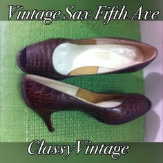 Vintage croc embossed Sax Fifth Ave pumps Croc embossed in dark brown. These are size 8 B. they are in great shape. Two inch heels. Peep toes. Signs of wear are at toe on inside and leather is darker around edges near sole. Great shoes!! Sax Fifth Ave.  Shoes Heels