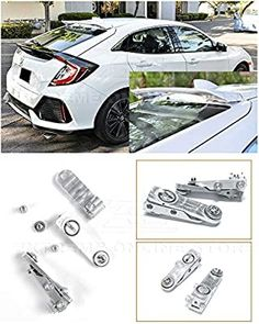Amazon.com: Replacement for 2016-Present Honda Civic Hatchback Models   EOS Anodized Silver Rear Roof Wing Spoiler Riser Extender Kit: Automotive