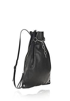ATTICA CHAIN GYMSACK IN BLACK WITH RHODIUM | Backpacks | Alexander Wang Official Site