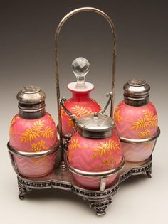 HERRINGBONE AIR-TRAP MOTHER-OF-PEARL FOUR-BOTTLE CONDIM : Lot 278 Estimated $800 to $1,200.