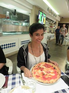 The authentic, delicious, hot from the oven pizza was a must for Anisha in Italy!