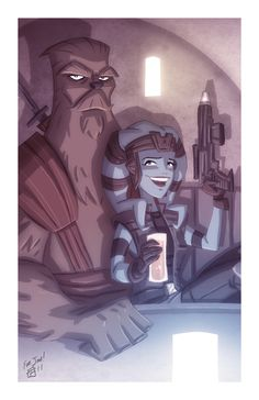 Mission and Zaalbar by OtisFrampton Star Wars Games, Star Wars Art, Star Wars Kotor, Star Wars Painting, Star Wars Characters Pictures, Star Wars The Old, Star Wars Drawings, Space Battles, The Old Republic