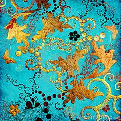 japanese+painting+on+gold+background | Turquoise background with golden patterns