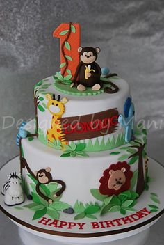 Jungle Themed 1St Birthday Cake on Cake Central