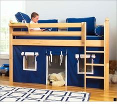 Kids Bunk Beds Storage on Kids Austin Twin Complete Low Loft Bed Low Height Full Loft Bunk Bed Jones Zander Bunk Bed Fort, Loft Bunk Beds, Low Loft Beds, Kids Bunk Beds, Playhouse Bed, Little Boy Beds, Murphy Bed Plans, House Beds, Cabin Beds