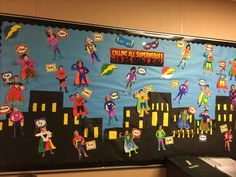 Super heroes Superhero Bulletin Boards, Superhero Classroom Decorations, Superhero Teacher, Birthday Bulletin Boards, Classroom Displays, Classroom Themes, Hero Crafts, Teen Art, Class Decoration