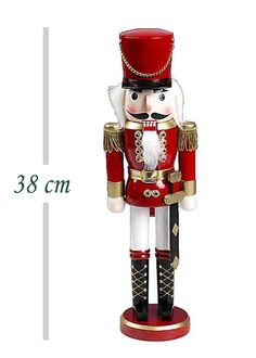 Xmas nutcracker. Διακοσμητικός καρυοθραύστης - μολυβένιος στρατιώτης, 38cm (Σετ 3 τχ.)