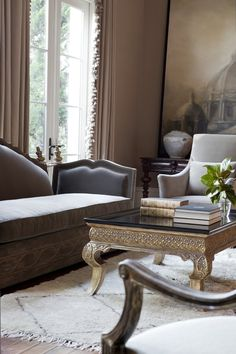 Living Room by @ebanistacollect from Collection Ten - Basilica II Oil Painting, Carpello II Sofa, Palazzo Cocktail Table, Enzo Chair