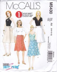 52ef103e403 FREE US SHIP McCalls 7403 Sewing Pattern uncut Size 6 8 10 12 Easy Wrap  Skirt with Pockets Waist 23-26.5 Factory Folded