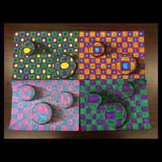 """ART TEACHER: HOLLY BRIGGS """"5th grade optical illusions tiered for all ability levels. Two color, two color challenge pattern, three color challenge pattern, four color and beyond. These are all from one class! Elementary art on point!"""""""