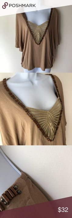 2b Bebe tunic top, brown tunic, trendy tunic Gently used. Some of the beads are missing. Not very noticeable. As shown in photos. 2B Bebe Tops Tunics