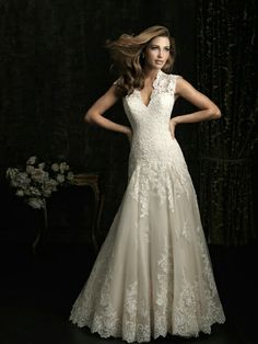 I Love this!!!!!! Allure lace drop waist wedding dress with sleeves I WANT IT!!!!!!