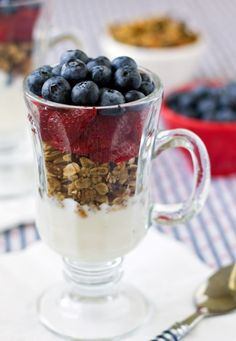 This Red, White, and Blueberry Parfait is the perfect breakfast or brunch option for 4th of July, or make it all year round! | Culinary Hill