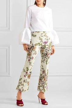 Giambattista Valli - Cropped Satin-trimmed Printed Crepe Flared Pants - Cream - IT38