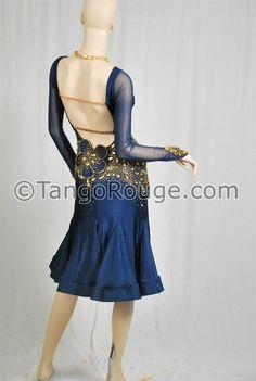 Navy Blue Elegant Latin Rhythm Cha Cha Rumba door TangoRougeDance