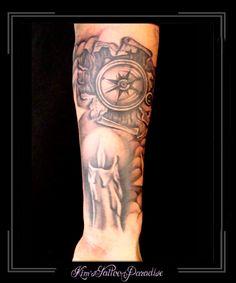 Tattoo | Kim's Tattoo Paradise Sleeve kaars en kompas