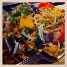 Steak and Thai noodle salad from Houston's in Memphis, TN. So good! Has mango, avocado, mint, cilantro, peanuts, and a Thai dressing... Yum!