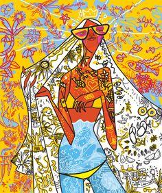 """caribbean endless summer"" for plataforma k fashion event.  illustration by #kikayis 2014"