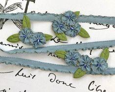 7mm...Rare Metal Edge Lettuce Ruffle...Flower Leaf Doll Silk Rayon Vintage French Sage Green Tinsel Ribbon Trim Collage Sewing Supplies