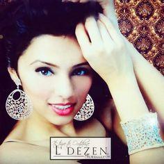 L' Dezen Jewellery Rose cut earrings and cuffs