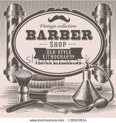 Vintage barber shop background by Doremi, via ShutterStock