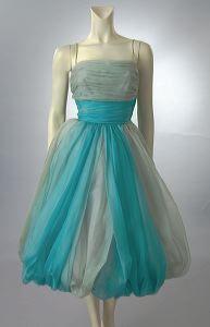 1950's chiffon two tone dress