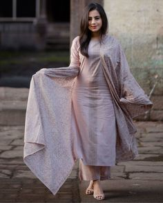 Discover thousands of images about Dusty Pink Block Printed Set 3 Salwar Suits Pakistani, Pakistani Dress Design, Pakistani Outfits, Indian Outfits, Indian Attire, Anarkali Suits, Punjabi Suits, Indian Dresses, Kurta Designs Women