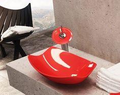 lavabo salle de bain | vasque de salle de bain | vasque salle de bain | vasque de verre salle de bain Glass Bathroom Sink, Glass Vessel Sinks, Pedestal Sink, Small Tub, Corner Sink, Bath Tiles, Bowl Sink, Diy Vanity, Red Glass